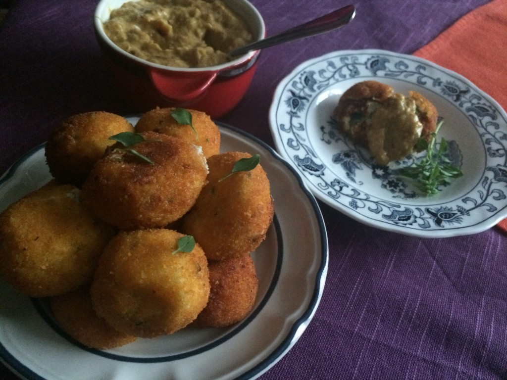 Ricotta Fritters with Yellow Pepper Dip