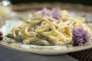 Linguine with Chive Blossoms